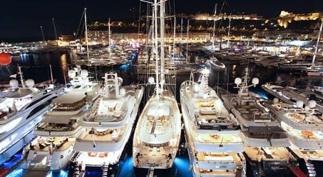 Luxury by night .... The Monaco Yacht Show.
