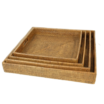 Breakfast tray set of 4 55x55x8, 50x50x8, 45x45x7, 40x40x7 cm G737