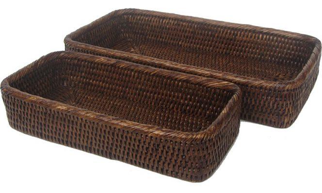 bathroom baskets (2) 31x15x5.5 to 25x11x5.5 cm G240