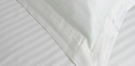 satin stripe bed linen
