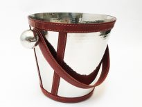 stainless steel ice bucket with leather trim