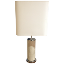 Cylindrical lamp, covered with herringbone quilted leather LC4-TS
