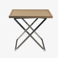 Side table, woven leather top T1-INT-G