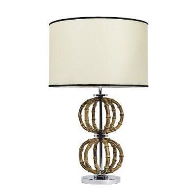 natural bamboo lamp with chrome base, LB1